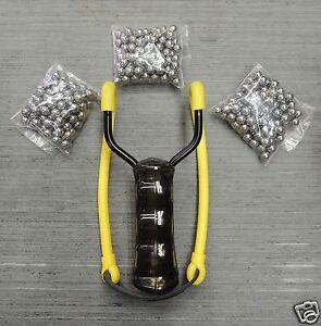 Steinschleuder-Schleuder-Zwille-Sportschleuder-mit-Magazin-300-Metallkugeln
