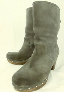 UGG-Australia-Wos-Boots-Ankle-3204-Lynnea-US-8-Gray-Suede-Fur-Lined-Heels-3890