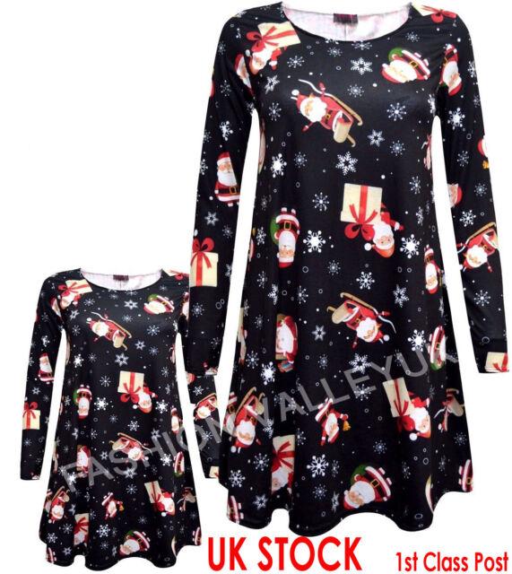 BABIES GIRLS MOTHER DAUGHTER CHRISTMAS BLACK SANTA SLEIGH XMAS SWING DRESS