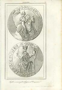 ANTIQUE-SEAL-COUNTERSEAL-OF-WILLIAM-THE-CONQUEROR-COPPER-PLATE-ENGRAVING-PRINT
