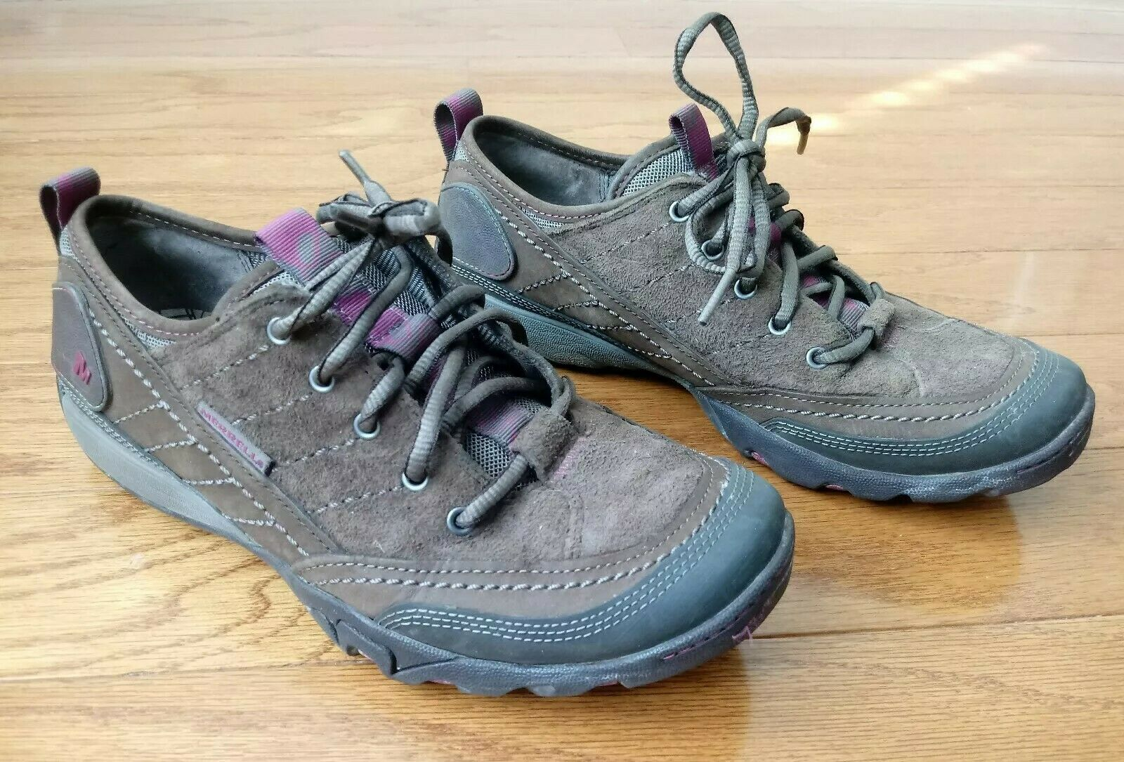 Merrell Stone Oxford Womens Sz 7.5 Hiking Camping Outdoor Brown & Pink Suede EUC