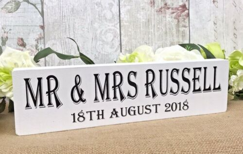 Rustic Wedding Top Table Sign Personalised Venue Decoration Free Standing White