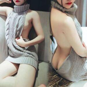 Women-Backless-Sleeveless-Virgin-Killer-Pullover-Cosplay-Sweater-Turtleneck-Knit