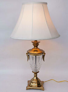 Large Vintage Crystal Glass And Brass Table Lamp With Brass Leaf