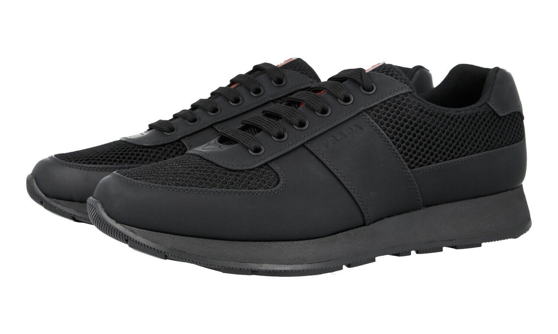 PRADA scarpe da ginnastica scarpe 4E3341 nero RUBBERIZED LEATHER+NYLON US 8.5 EU 41,5 42
