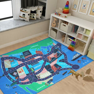 Kids-Area-Rugs-Car-Play-Crawling-Activity-Mat-Road-Floor-Game-Bedroom-Carpets