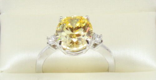 14K White Gold 4.30 TCW OVAL CUT VVS1 Fancy Yellow  Wedding Engagement Ring
