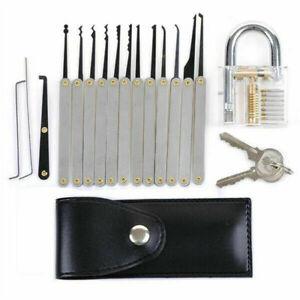 15PCS-Practice-Lock-Pick-Set-Padlock-Locksmith-Lockpick-Unlocking-Key-Tools-Kit