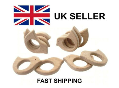 Wooden Bird Teether 7cm\ Ship from UK\ Wooden Bird Teething Ring\ Baby Teether