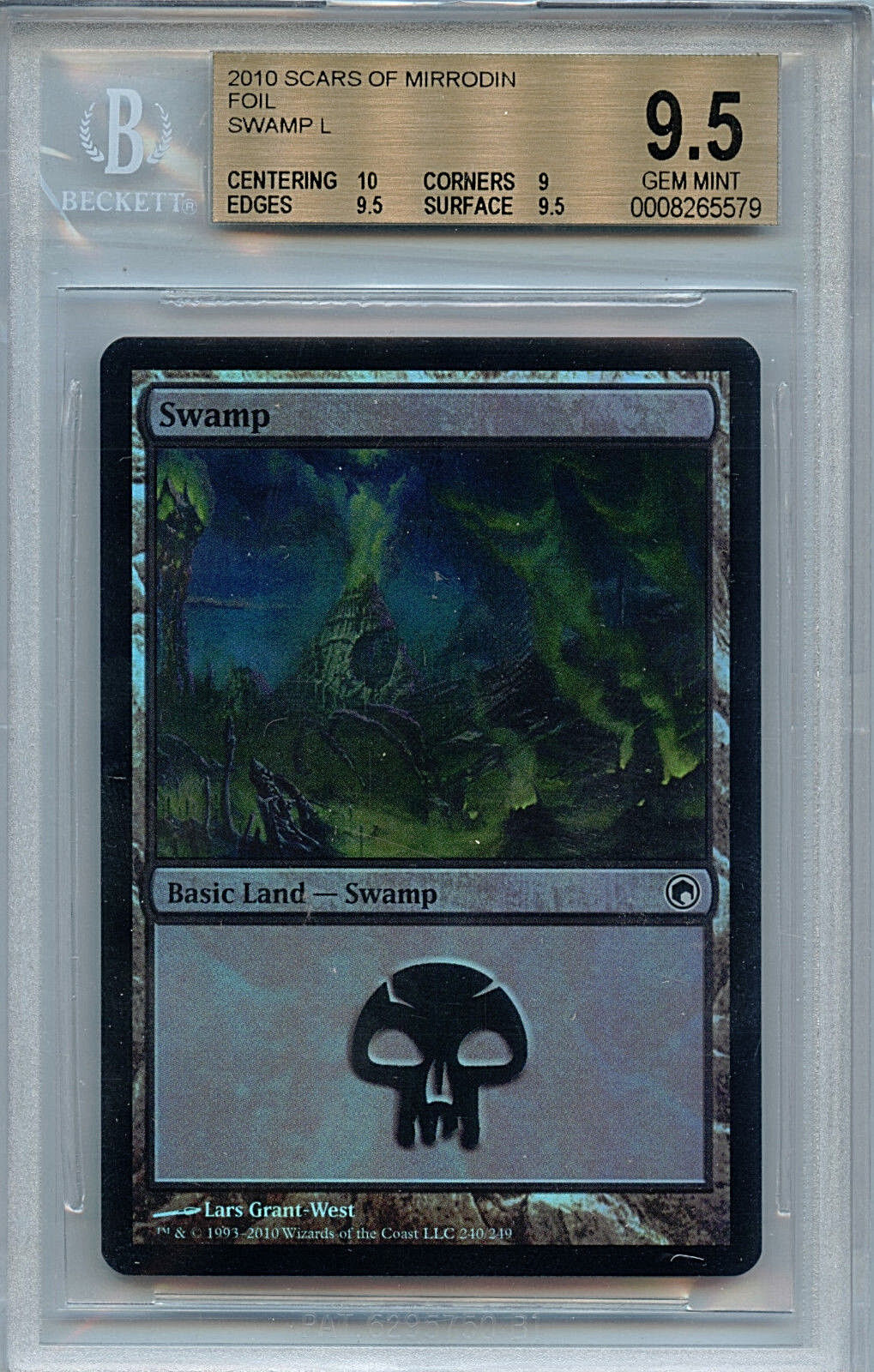 MTG Swamp Land BGS 9.5 Gem Mint Scars of of of Mirrodin Foil Magic Card 5579 Amricons 75a1b1