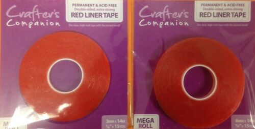 Crafter/'s Companion 3mm,6mm or 12mm Double Sided Extra Strong Red Liner Tape-10m