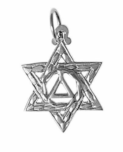Size Sterling Silver AA Alcoholics Anonymous Etched Symbol Pendant,#517-4 Med