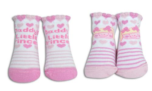 Infantil Niño Bebé Recién Nacido Niñas 2 Pack Algodón Calcetines ricos Botines Rosa 0-12m Reino Unido
