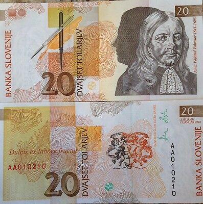 SLOVENIA 1992 20 TOLARJEV UNC BANKNOTE P-12 JANEZ VAJKARD VALVASOR USA SELLER !