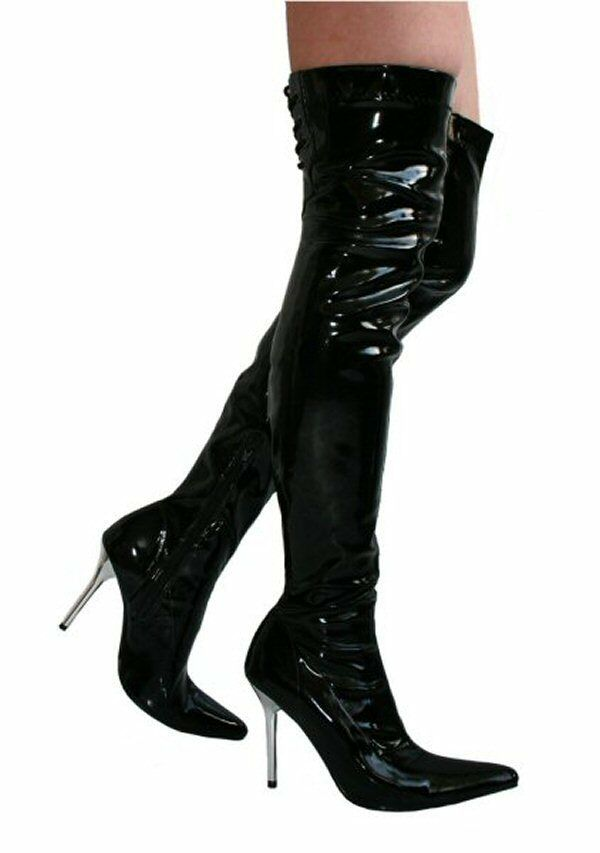 Kirsty Black Patent 4 Stiletto Heel Lace Top Thigh High Boots Sizes UK 5 EU 38