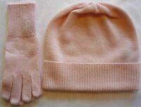Pink 100% Pure Cashmere Hat And Glove Gift Set Ski Beanie Winter Cap Skull