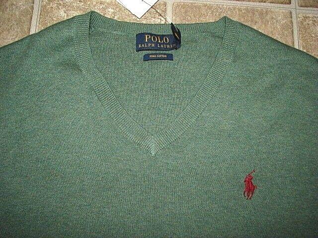 Herren (XXL) Polo-Ralph Lauren Salbei Grün Pima Baumwolle V Auschnitt Pullover