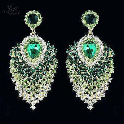 Cute 18K GP Green Crystal Peacock Feathers Chandelier Drop Dangle Earrings 04683