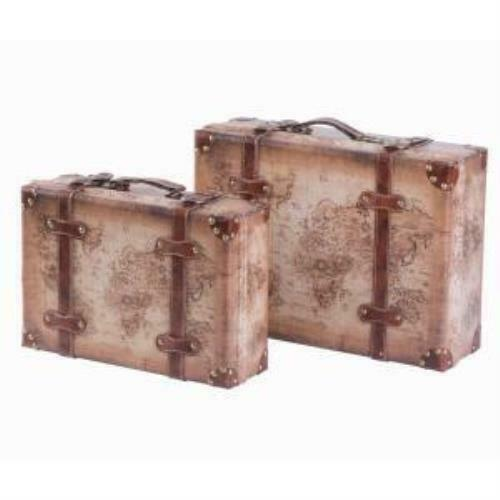 Set of 2 Vintage Style World Map Leather Suitcase Trunks with Straps and Handle