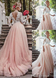 b2c7156ad2297 Vintage Blush Pink Lace Wedding Dress New V-Neck A-Line Bridal Gown ...