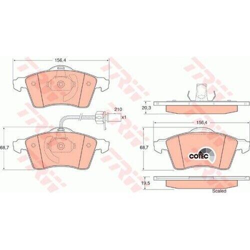 1 Bremsbelagsatz Scheibenbremse TRW GDB1391 COTEC passend für VW