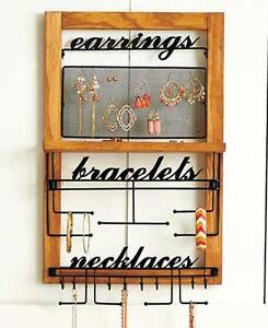 Wooden Wall Hanging Jewelry Organizer Storage For Earrings Bracelets