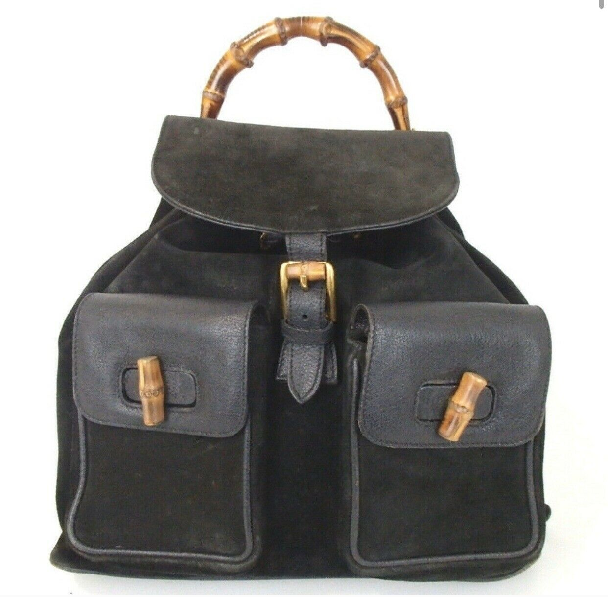 Authentic GUCCI bamboo Backpack - Daypack Suede L… - image 2