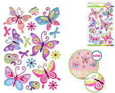 BUTTERFLIES & flowers glitter 3D puffy wall stickers 16 decals kids' room decor