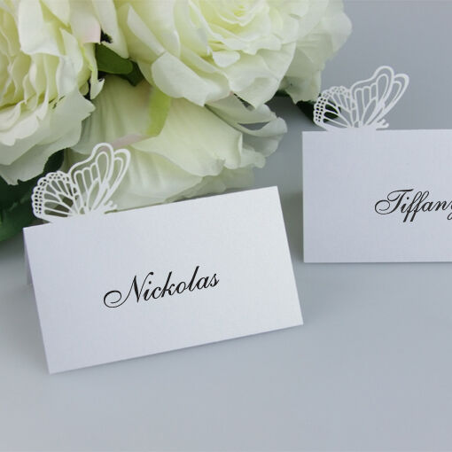 New!Butterfly Name Place Cards Wedding Favor Table Fold Cards,invitation cards