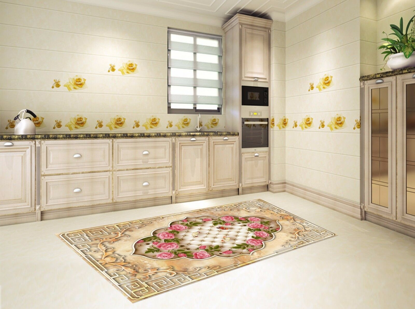 3D Frame Rose 227 Kitchen Mat Floor Murals Wall Print Wall Deco AJ WALLPAPER UK