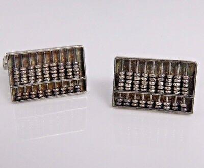925 Sterling Silver Vintage Hong Kong Abacus Design Cufflinks