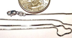 10Kt Solid White Gold 16 inch .45MM BOX Chain.....W//Gift Box