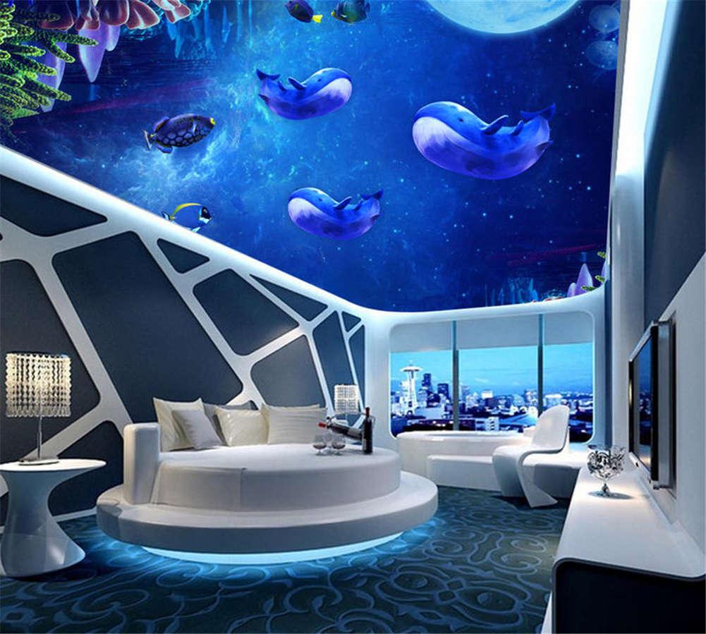 Vivid Genuine Fishes 3D Ceiling Mural Full Wall Photo Wallpaper Print Home Decor
