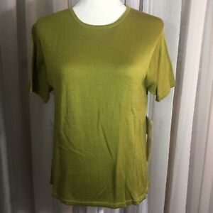 Kevo-short-sleeve-womens-knit-top-100-2-ply-silk-M-lichen-moss-green-crew-nwt