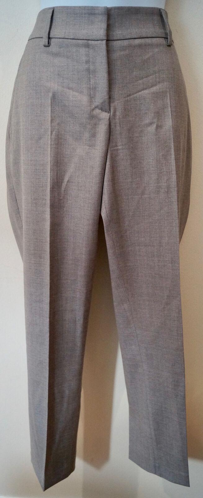 BRUNELLO CUCINELLI Women's Grey Virgin Wool Formal Business Trousers UK12