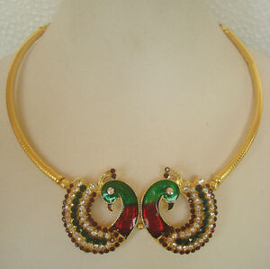 Bollywood Fashion Temple Jewelry Gold Tone Stone Design Necklace