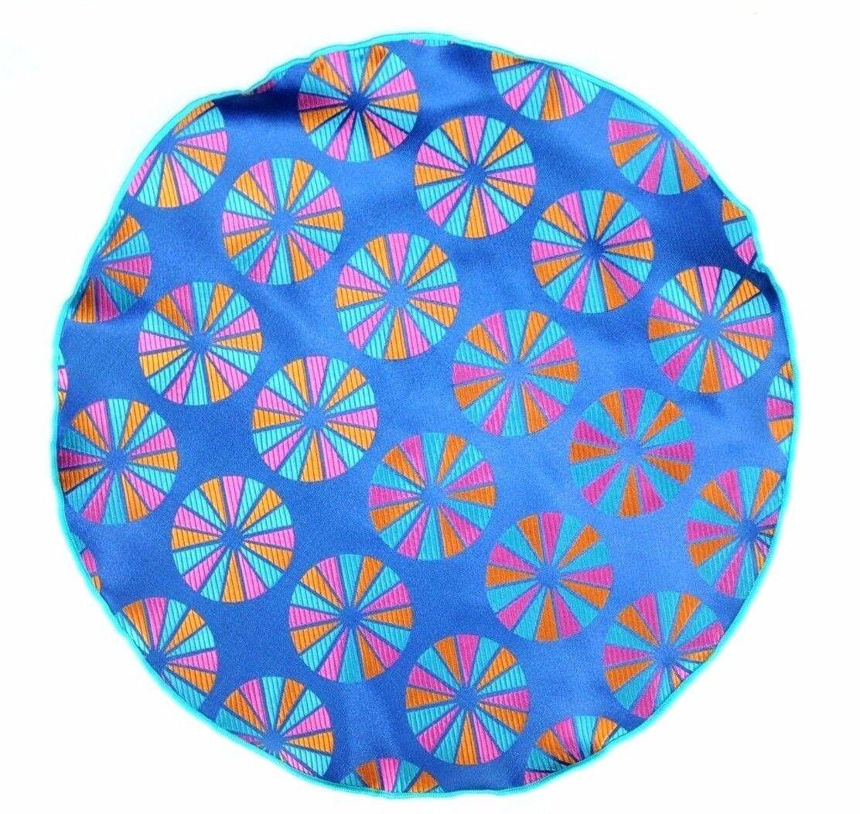 Lord R Colton Masterworks Pocket Round Parma Blue& Orange Silk - Retail New