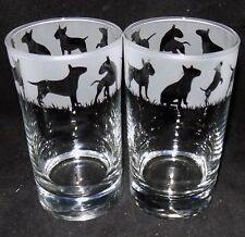 "New Etched ""ENGLISH BULL TERRIER"" Hiball Glasses - Beautiful Gift- Free Gift Box"