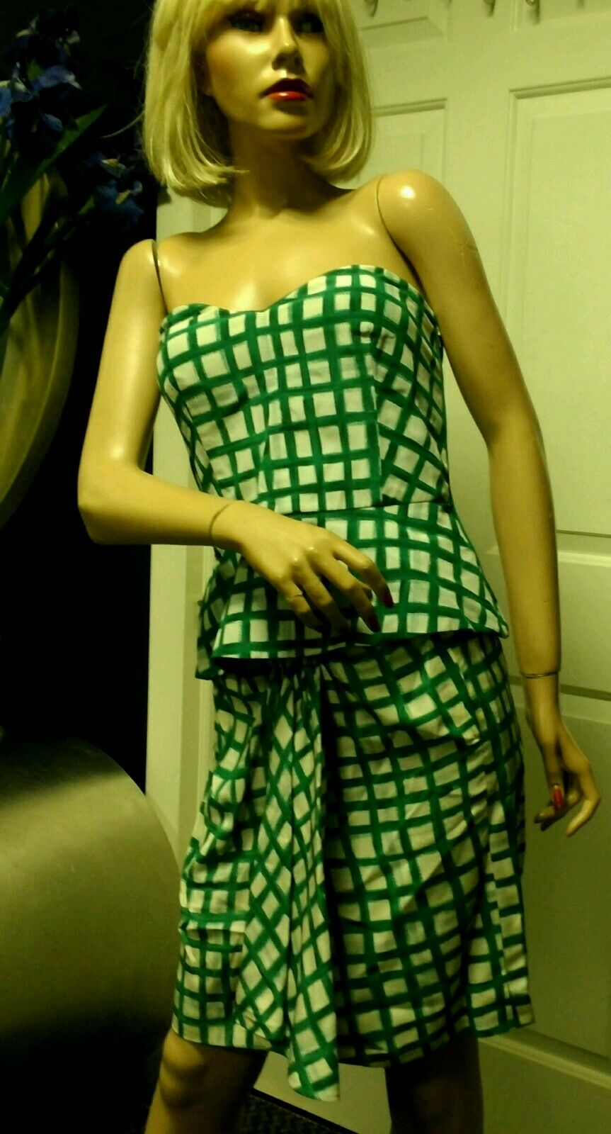 Vintage 90s  Valentino  Boutique Skirt Bustier Green Silk US Size 4
