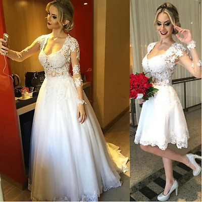Two Dresses In One Short Wedding Dress With Detachable Skirt Lace Long Sleeve Ebay