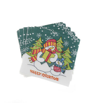 20x/lot Christmas Snowman Napkins Festive Party Paper Napkins Decoration Fad*
