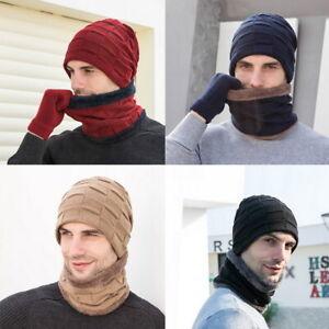 Unisex-Winter-Beanie-Hat-Scarf-Touchscreen-Gloves-Set-Neck-Thick-Knit-Skull-Cap