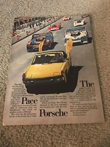 "Vintage 1973 PORSCHE CONVERTIBLE Car Print Ad 1970s YELLOW ""THE PACE PORSCHE"""