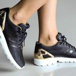 watch d9451 1b85e adidas Womens Originals ZX Flux Shoes S81610 Legend Ink/gold ...