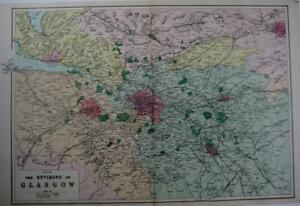 GLASGOW ENVIRONS SCOTLAND LARGE SCALE MAP HAND COLOUR GEORGE BACON