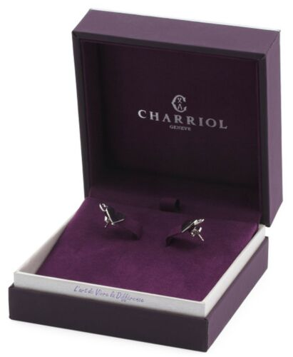 $145 CHARRIOL Sterling Silver Mouni Double Heart Stud Earring Women Gift Box NEW