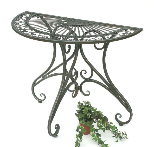 Tisch Wandtisch 130434 Beistelltisch Metall 90 Cm Halbrund Konsole ...