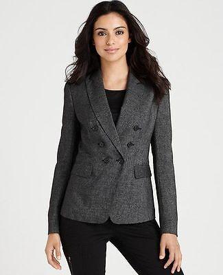 NWT Womens Wool Tweed Jacket Blazer Black Petite 0P 2P