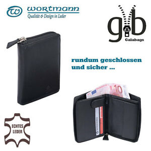 Geldboerse-umlaufender-Reissverschluss-Portemonnaie-Damen-Herren-echtes-Leder