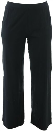 Denim /& Co Tall Beach Pull-On Pants Side Slits Black S NEW A351806